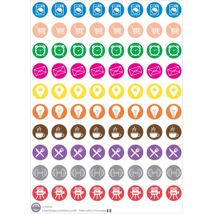 Gommettes Organisation multicolore | Les P'tites gommettes | Fabriquées en France